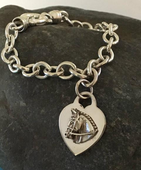 6a66a0793 Sterling Silver Tiffany Style Hunter Jumper on Heart Bracelet - Show ...