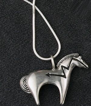 Sterling Silver Large Heartline Horse Pendant