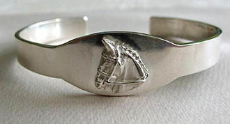 Sterling Silver Larger Hunter/Jumper/Event Horse Head ID Bangle