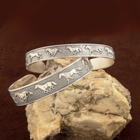 Medium Sterling Silver Running Horse CUFF Bracelet