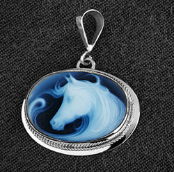 Sterling Silver Oval Fantasy Horse Cameo Pendant