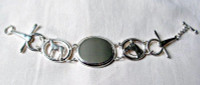Sterling Silver Oval Horses Toggle Bracelet with Engravable Oval Plate