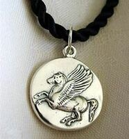 Sterling Silver Pegasus Horse Coin Pendant