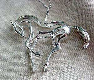 Sterling Silver Prancing Horse Pendant