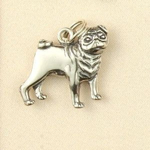 Sterling Silver Pug Dog Charm or Pendant