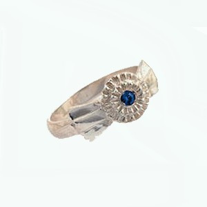 Sterling Silver Ribbon RING with Sapphire