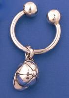 Sterling Silver Riding Helmet Key Chain