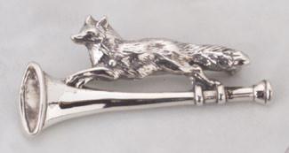 Sterling Silver Running Fox on Hunting Horn Pin Brooch.