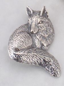 Sterling Silver Sitting Fox PIN