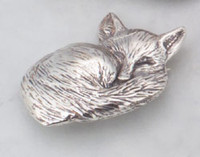 Sterling Silver Sleeping Fox Pin