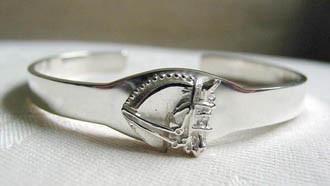 Sterling Silver Slim Dressage Horse I.D. Cuff Bangle Bracelet.