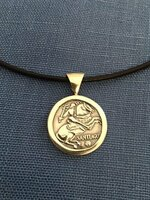 Sterling Silver St. Santiago Coin-Style Pendant.on Leather Cord