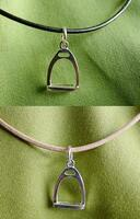Sterling Silver Stirrup Charm Pedant on Leather Cord