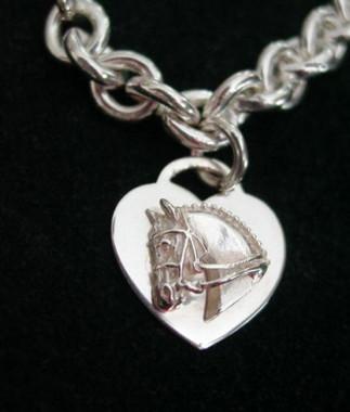 Sterling Silver Tiffany Style Dressage Horse Heart Bracelet