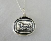 Sterling Silver Wax Seal Trotting Horse Pendant with Chain