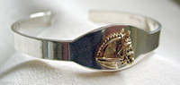 Sterling Silver with 14k Gold Dressage horse Head I.D. Cuff Bangle Bracelet.