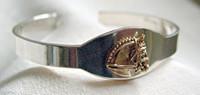 Sterling Silver with 14k Gold Dressage horse Head I.D. Cuff Bangle Bracelet.