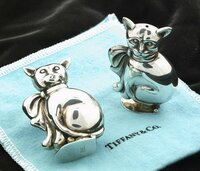 Sterling Silver Tiffany & Co. Kitty Cat Salt & Pepper Shakers