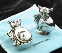 Sterling Silver Tiffany & Co. Kitty Cat Salt & Pepper Shakers