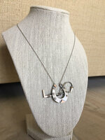 Victorian Silver and Gold Horseshoe and Whip Neckpiece