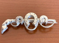 Victorian Silver Stock Pin with Horseshoes and Whip
