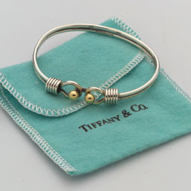 Vintage 14k Gold and Sterling Silver signed Tiffany Bangle Bracelet.