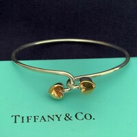 Vintage Tiffany 18k Gold and Sterling Silver Hearts Bangle Bracelet