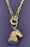 Highly Detailed Horse Head Pendant and Watch Chain from A Victorian Fob
