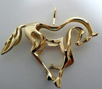 Large 14k YELLOW Gold OnlyPrancing Horse Pendant