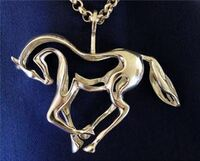 Large Sterling Silver Prancing Horse Pendant with Chain (HRSC0380SS)
