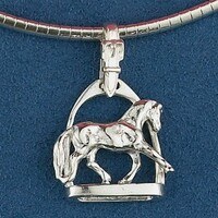 Sterling Silver Dressage Horse  in Stirrup Pendant