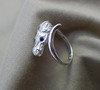 Sterling Silver Horse Head Ring with Sapphire Eyes