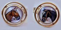 14k Gold Antique Cufflinks with  Bay Horse and  Black Horse Reverse Crystals