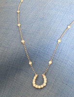 "14K Yellow or White Gold Diamond Horseshoe on a ""Diamonds-by the-Yard-Style Chain"