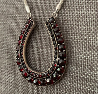 Large Antique Bohemian Garnet Horseshoe Necklace