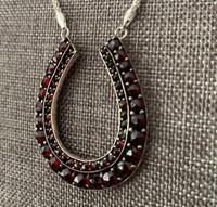 Large Antique Bohemian Garnet Horseshoe Necklace