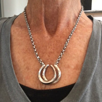 Antique Sterling silver Double Luck Horseshoe Necklace with 9k Rose Gold