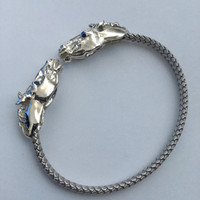 Sterling Silver 2 Horse Heads Flexie-Bangle with Sapphire Eyes