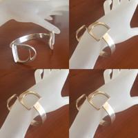 Vintage Sterling Silver Double Stirrups Cuff Bracelet