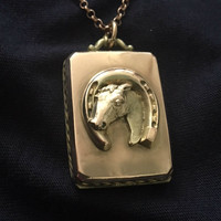 Antique Rose Gold-Filled Locket Pendant with Horse in Horseshoe