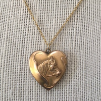 Antique Art Deco Horse on Heart Locket Necklace