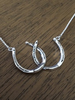 Sterling Silver Antique Double Horseshoe Necklace