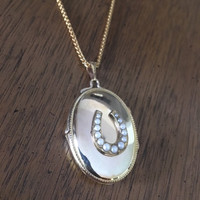 Antique Gold-Filled Pearl Horseshoe Locket Pendant