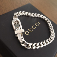 Vintage Petite Gucci Belt Buckle and Curb Link Bracelet