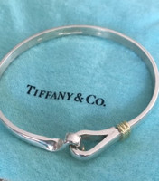 Vintage Tiffany 18k Gold and Sterling Silver  Classic Hook and Loop Bangle Bracelet