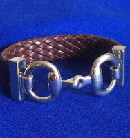 Vintage Ralph Lauren Leather and Sterling Silver Snaffle Bit Bracelet