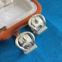 Vintage Hermes Buckle Earrings with Box