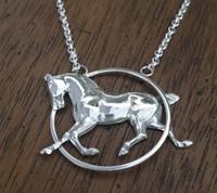 Vintage Trotting Horse in Circle Pendant Neckpiece