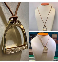 Large 14k Yellow or White Gold Stirrup Pendant with Diamonds