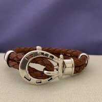 Woven Brown or Black Leather and Sterling Silver Horseshoe Bracelet